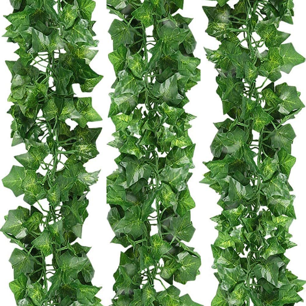 12 Pack 84Ft Artificial Fake Ivy Leaves Garland Hanging Vines Plant Artificial Plants Greenery Foliage Garland Faux Vine for for Wedding Party Garden Wall Lndoor & Outdoor Decoration (Ivy Garland)