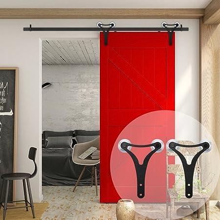 WINSOON - Kit de herramientas para puerta corredera de armario de doble rueda de aluminio con grandes perchas en forma de Y para una sola puerta: Amazon.es: Bricolaje y herramientas