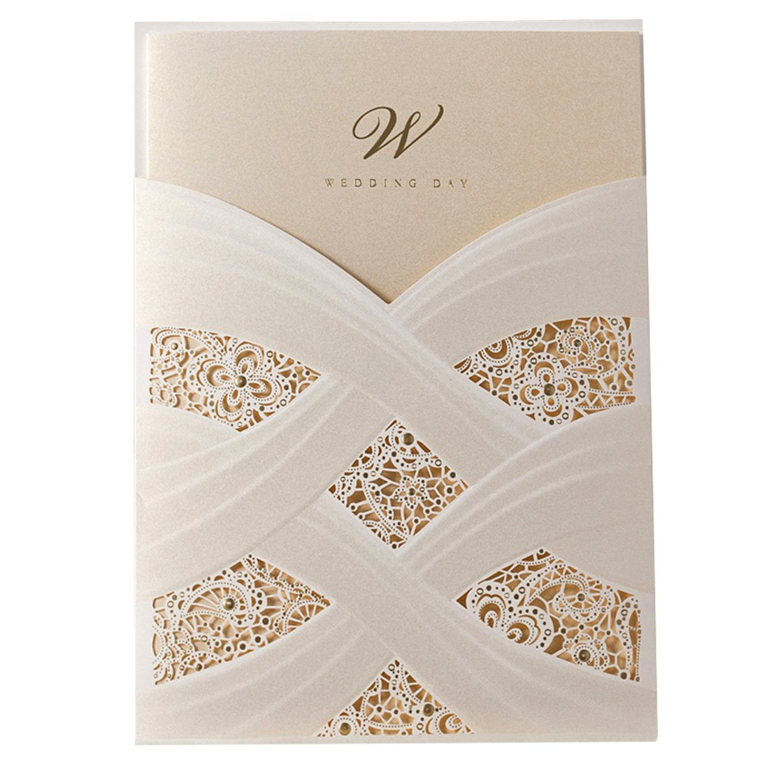 Wishmade 50pcs Ivory Laser Cut Wedding Invitations Cards kit With Lace Sleeve Flower Pocket Design Cardstock for Bridal Shower (pack of 50pcs) FCW060