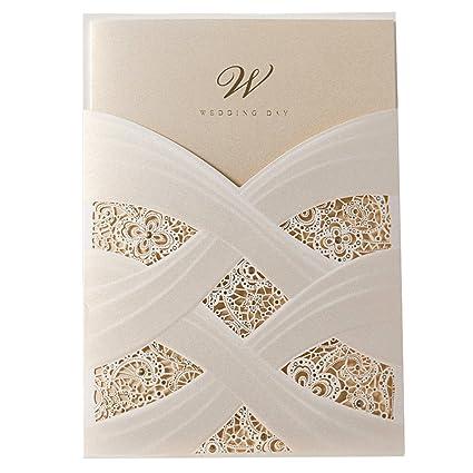 Amazon Com Wishmade Ivory Laser Cut Wedding Invitations Cards Kits