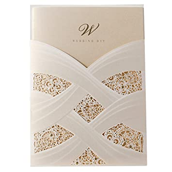 Amazon Com Wishmade Ivory Laser Cut Wedding Invitations Cards Kits