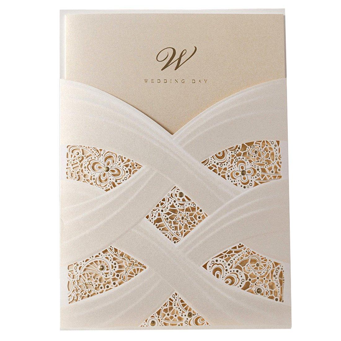 Amazon.com: Doris Home Vertical Laser Cut White Hollow Flora Wedding ...
