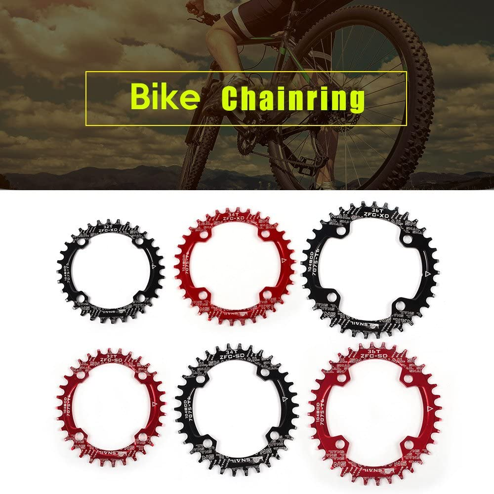 Bike Narrow Wide Round Oval Chainring Chain Ring A7075 Al Alloy BCD 104mm 32-38T