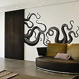 Vinyl Kraken Wall Decal Octopus Tentacles Wall Sticker Sea Monster Decals Squid Wall Graphic Mural Home Art Decor Black by DigTour WallArt