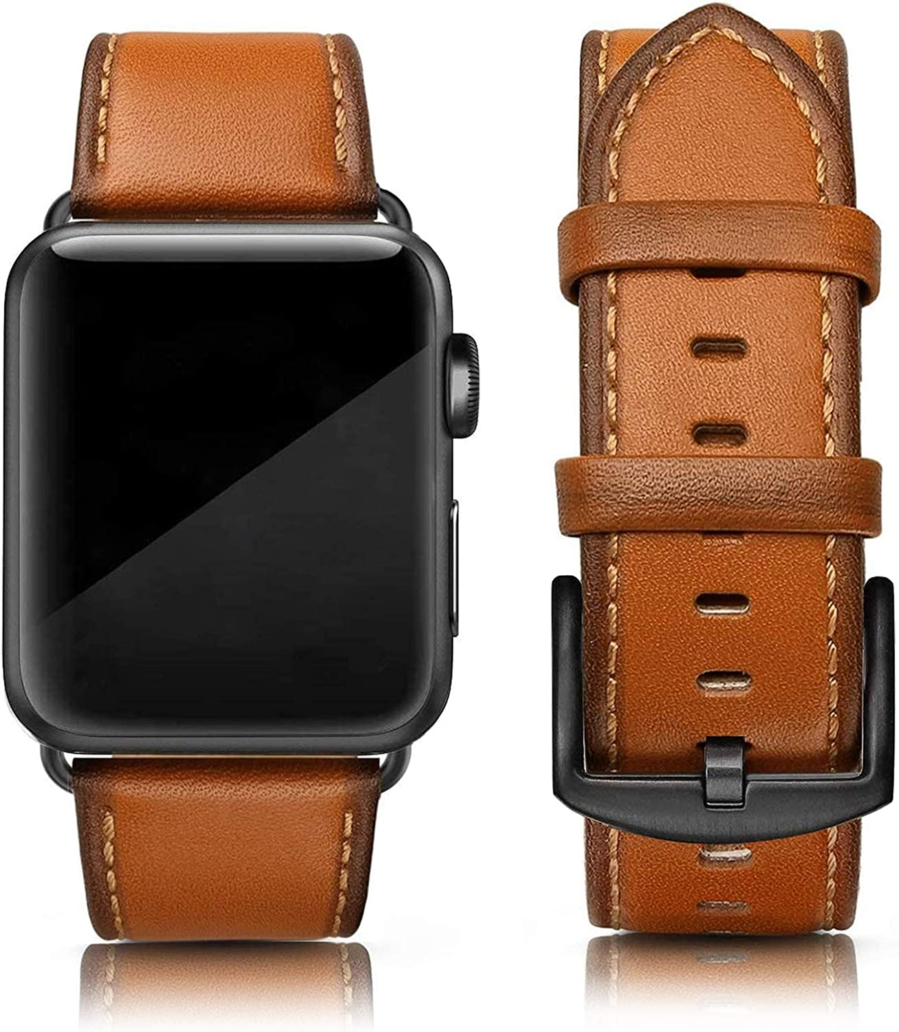 SWEES Leather Band Compatible for iWatch 42mm 44mm, Genuine Leather Replacement Wristband Strap Compatible iWatch Series 6, Series 5, Series 4, Series 3, Series 2, Series 1, SE Sports & Edition Men, Orange