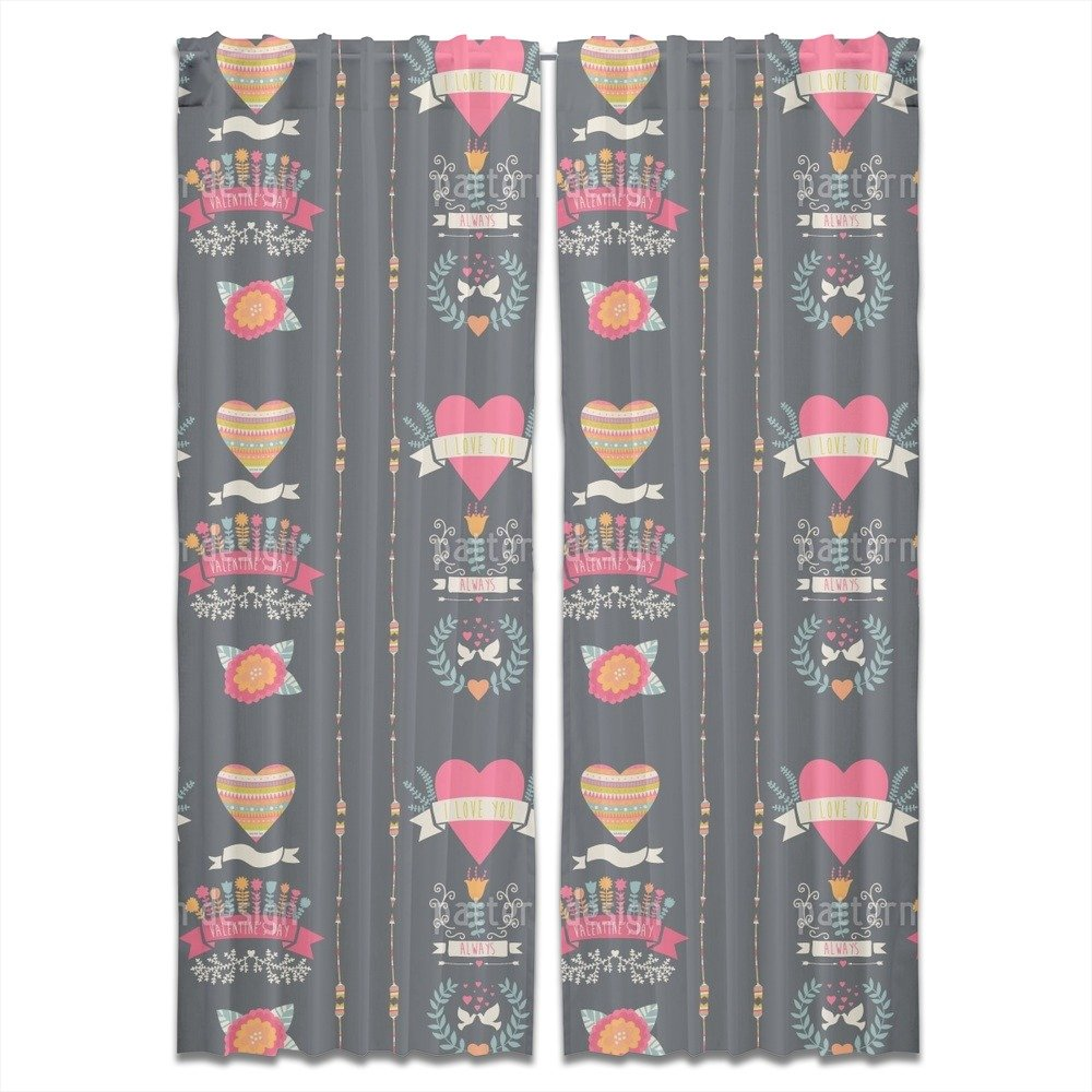 Every Day Is Valentines Day Curtain: Long, Lined Window Treatment Set of 2 Panels for Living Room Bed Room by uneekee