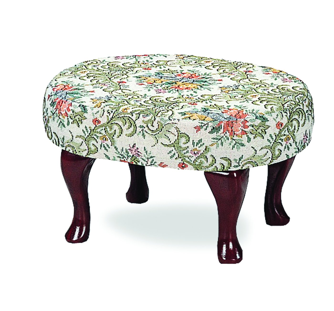 Coaster Home Furnishings Queen Anne Style Footstool with Floral Damask Covered, Cherry Finish 3422
