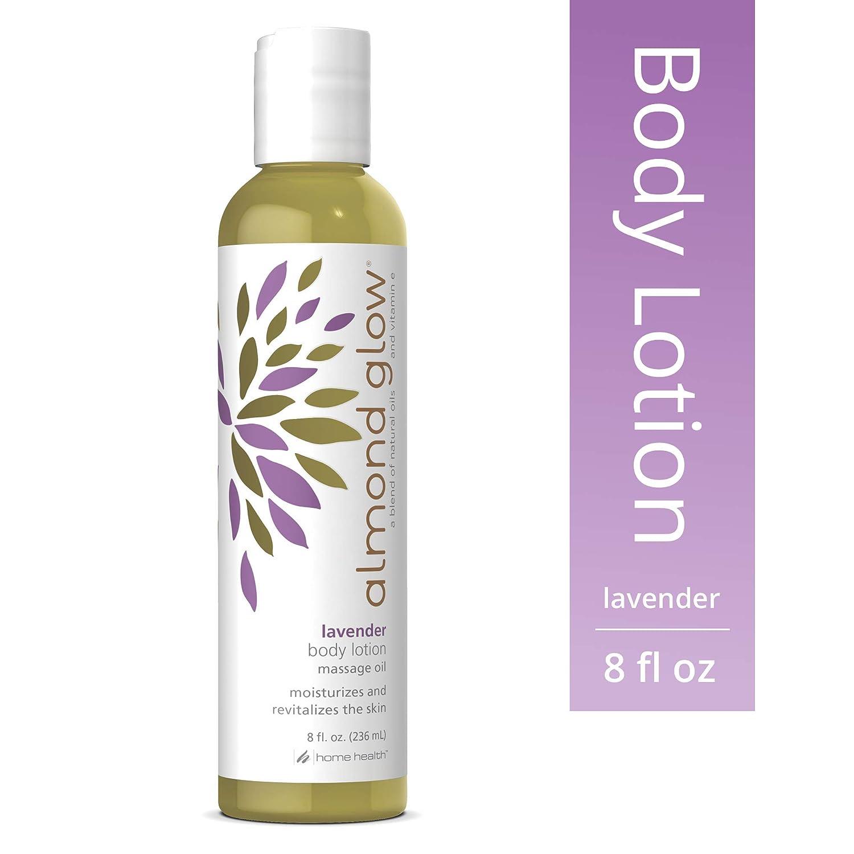 Home Health Almond Glow Lavender Skin Lotion & Massage Oil - 8 fl oz - Moisturizes & Revitalizes Skin, With Peanut, Olive & Lanolin Oils Plus Vitamin E - Non-GMO, Paraben-Free,Vegetarian