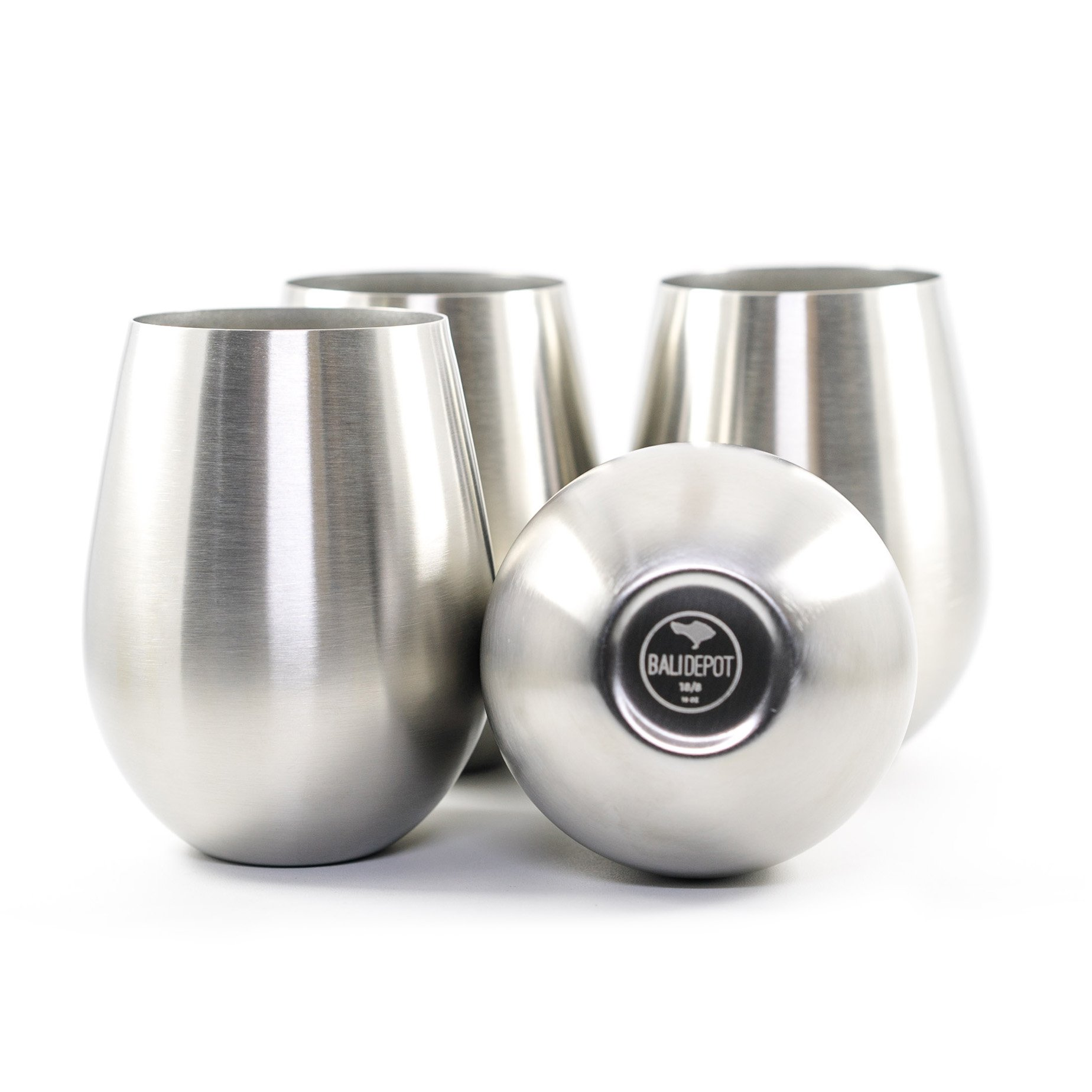Stainless Steel Wine Glasses - Set of 4 Large & Elegant Stemless Cups - 18 oz Tumblers are Unbreakable, Shatterproof, Dishwasher Safe, BPA & Toxin Free - Perfect Goblets for ALL Drinks & Activities