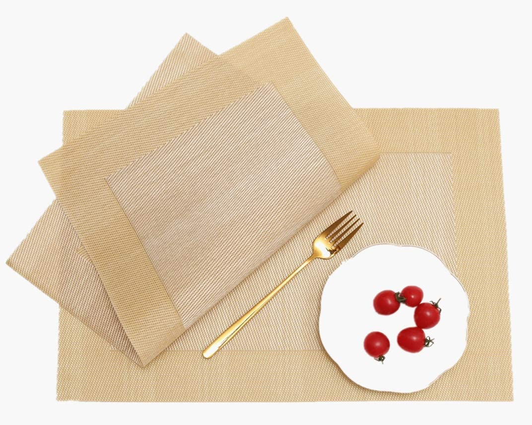 WANGCHAO Placemats, Heat-Resistant Placemats Stain Resistant Anti-Skid Washable PVC Table Mats Woven Vinyl Placemats, Set of 4