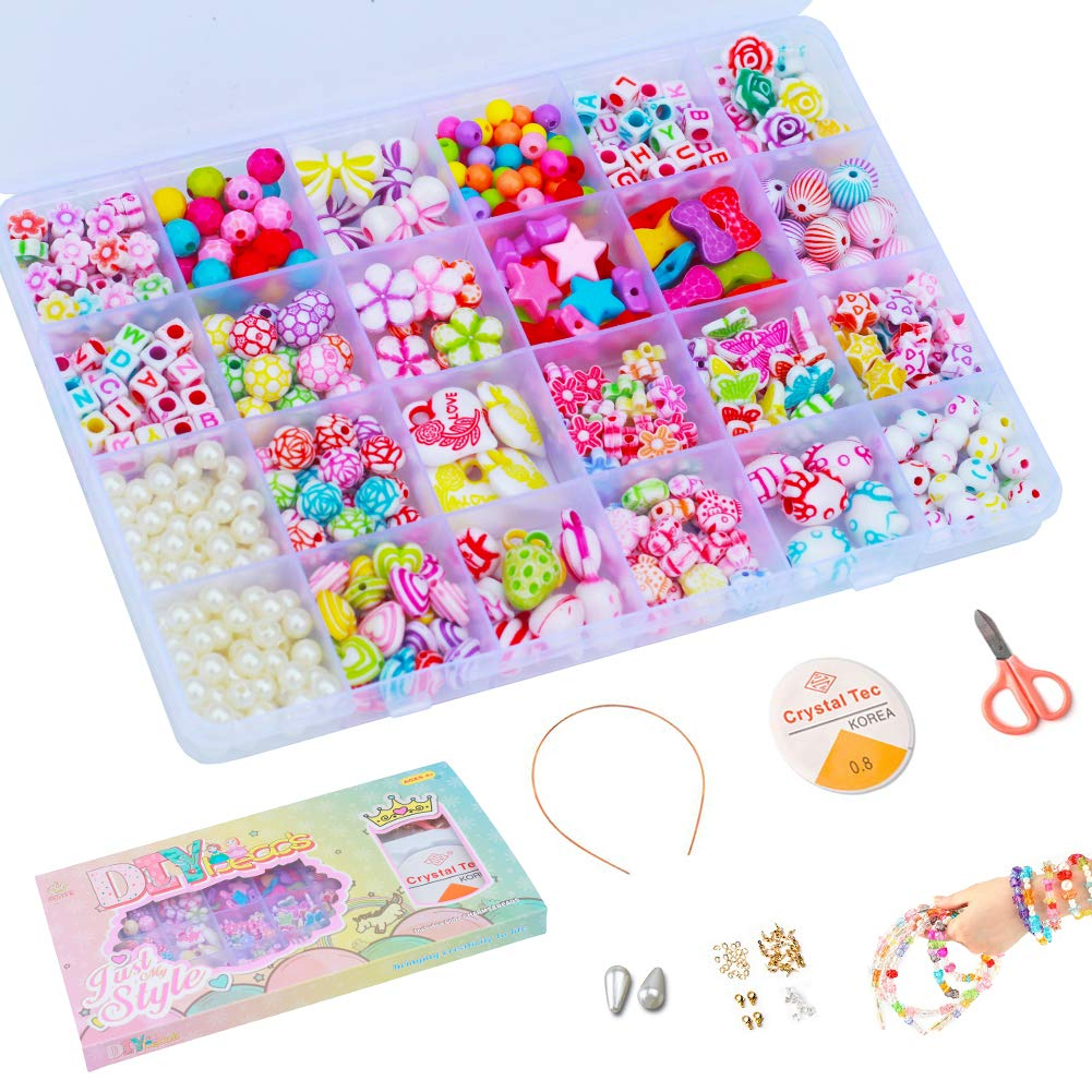 Gift for Girls 4 Years up Bows Flowers for Kids Craft Toys Jewelry Making Kits DIY Bracelets Necklaces Pearls Beads 23 Shapes of Kitty Aster DIY Beads Set Princess Style Box 500+pcs