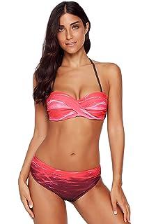 777fbd65af481 LOSRLY Women Halter Color Block Twist Bandeau Push Up Bikini Set Two Pieces  Swimsuits