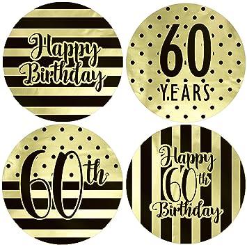 Amazon.com: Pegatinas de oro para 60 cumpleaños, diseño de ...
