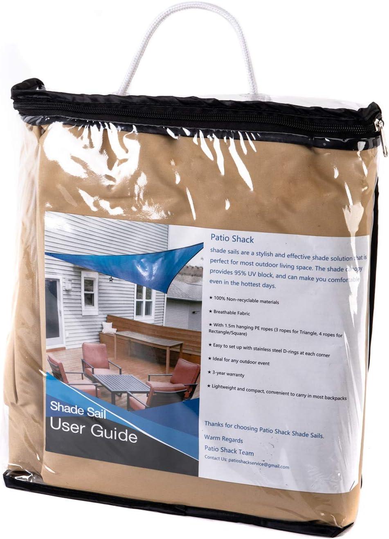 UV Schutz Polyester Wasserabweisend Sonnenschutz f/ür Garten Balkon und Terrasse Patio Shack Sonnensegel Quadrat 3x3m Wasserdicht Sand