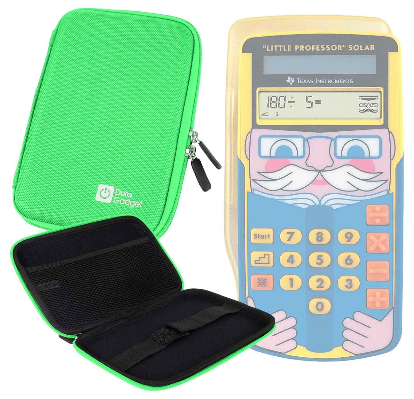 DURAGADGET Green Hard Portable EVA Case With Zipper for the Texas Instruments Little Professor Solar