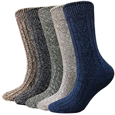 0c000922fde5a Image Unavailable. Image not available for. Color: Wool Socks for Men 5  Pack-Hiker Winter Soft Thick Warm Boot Crew ...