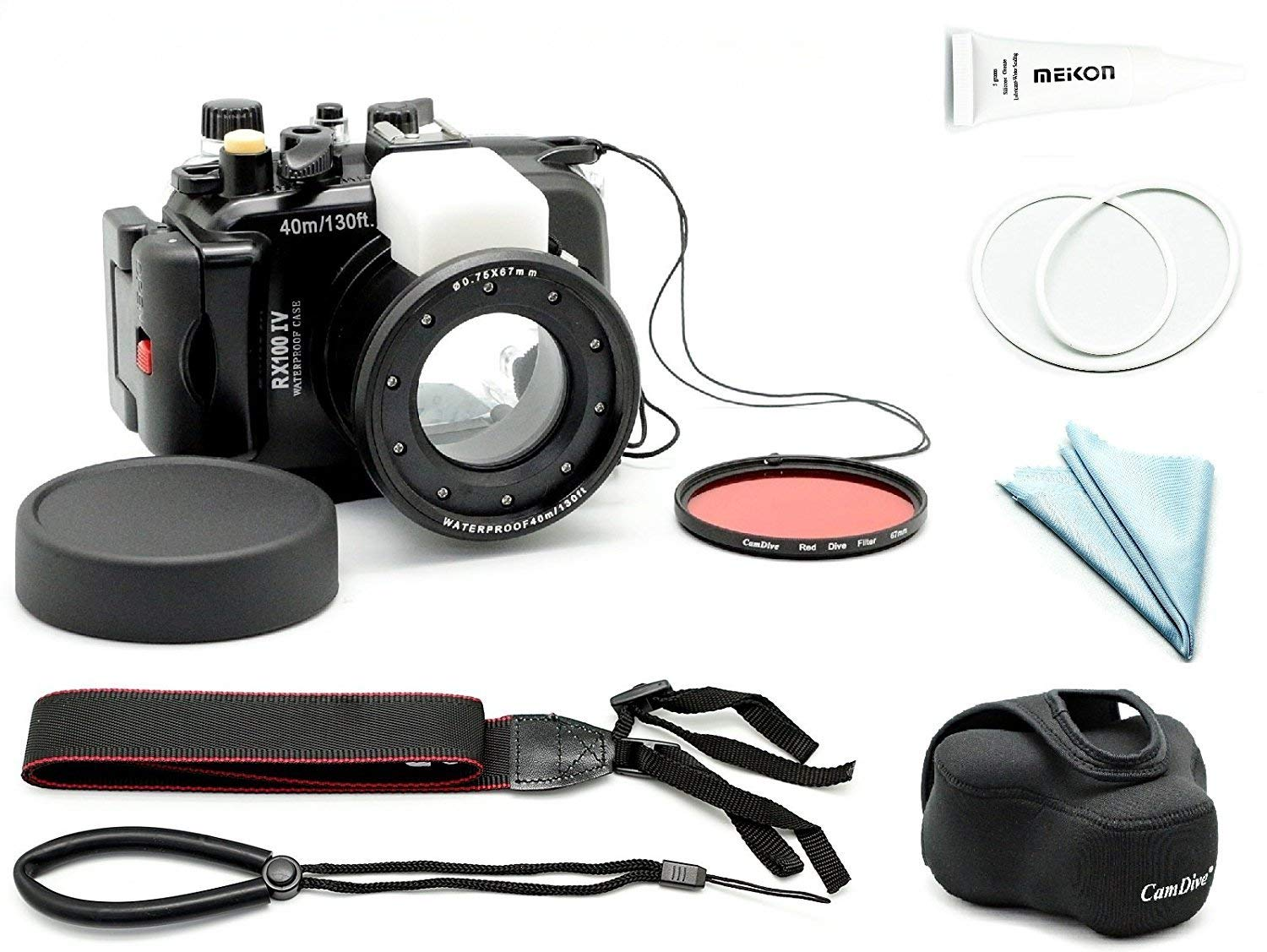 CamDive 40M/130FT Waterproof Underwater Camera Housing for Sony DSC RX100 IV / RX100 III / RX100 V (Housing+Cover+Filter)