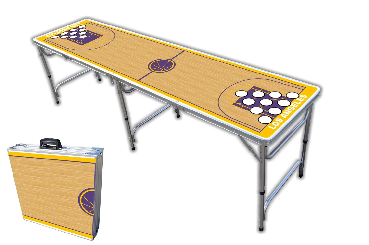 8-Foot Professional Beer Pong Table w/Holes - Los Angeles Basketball Court Graphic by PartyPongTables.com