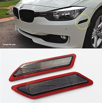 VXMOTOR for 2013-2015 BMW F30 F31 3-Series Base Model - Smoke Crystal  Bumper Reflector Side Marker Lights
