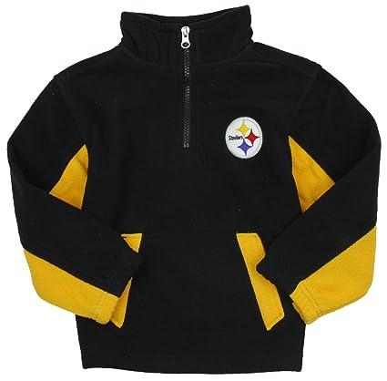 dfcc1791f9067f Amazon.com : Outerstuff Pittsburgh Steelers NFL Little Boys 1/4 Zip Micro  Fleece Sweater, Black : Clothing