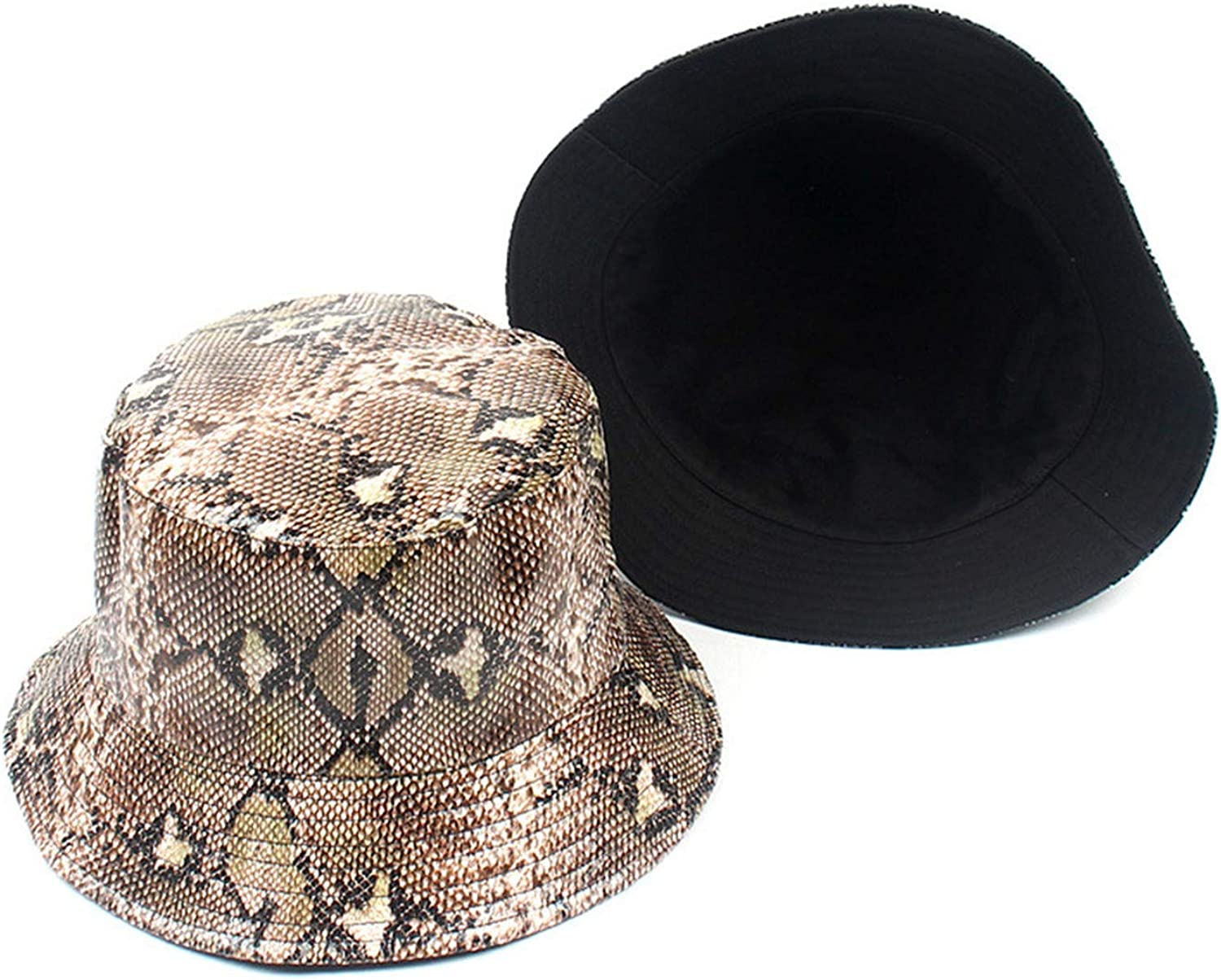 Unisex Adult Double Sided Wear Snake Grain Fisherman Hat Faux Leather Sunscreen Outdoors Cap