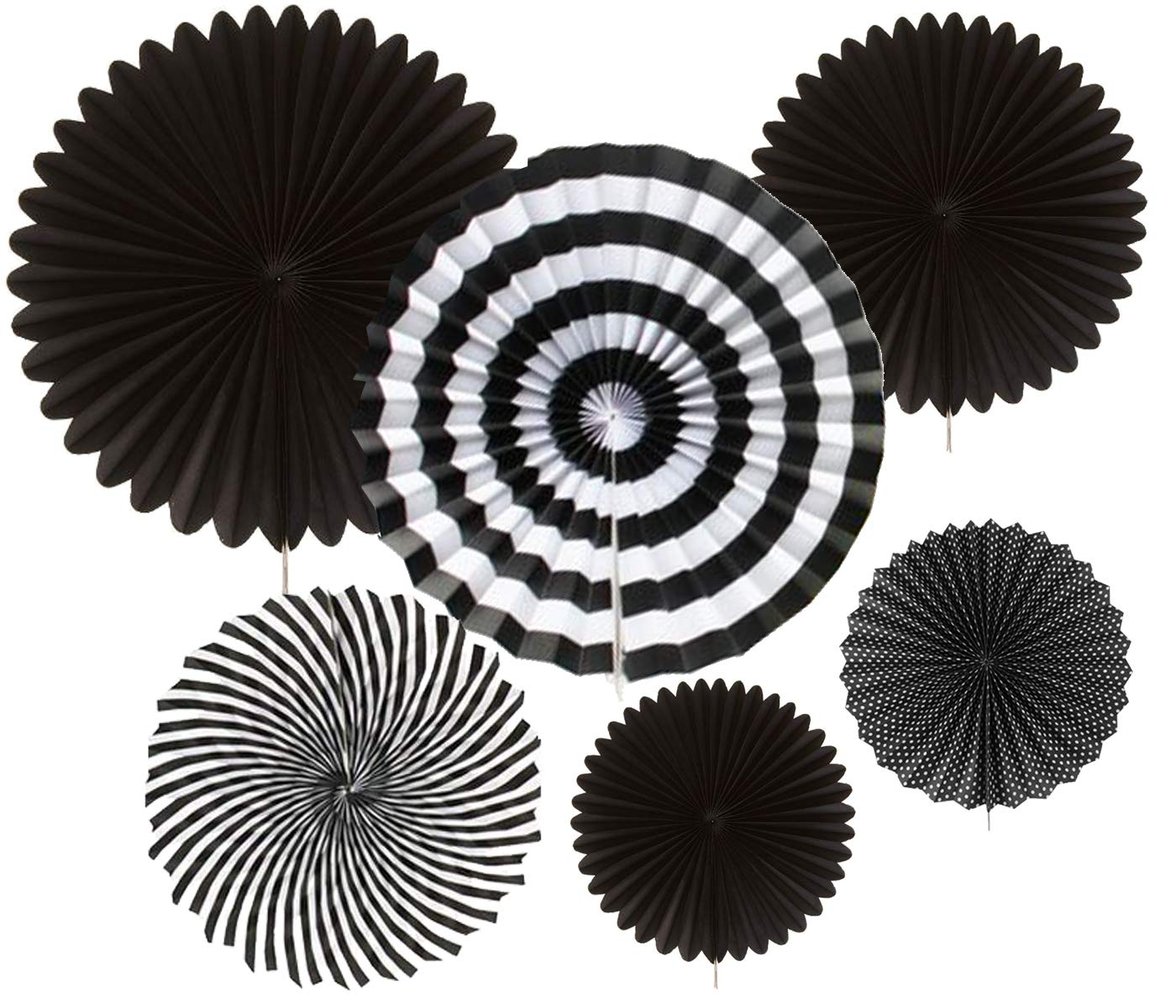 AMFIN Decoration Paper Party Fan (Black and White)-Pack of 6 (B07GR21QBS) Amazon Price History, Amazon Price Tracker