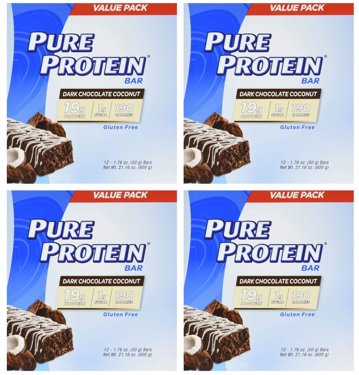 Pure Protein Dark Chocolate Coconut, 1.76oz, 4 Pack (12 Count)
