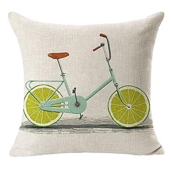 fablcrew Kissenbezug Leinen mit Schnittmuster Fahrräder und Obst für ...