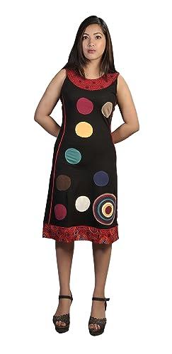 Vestito delle donne di cotone senza maniche con la patch design colorato cerchio
