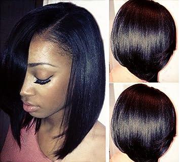 Amazon.com : LUFFYWIG Short Bob Human Hair U Part Bob Cut Wigs 10A ...