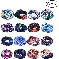 FRCOLOR 6pcs Outdoor Headwears Elastic Seamless Bandana Scarf UV Resistence Sport Headwears(Ramdon Color)