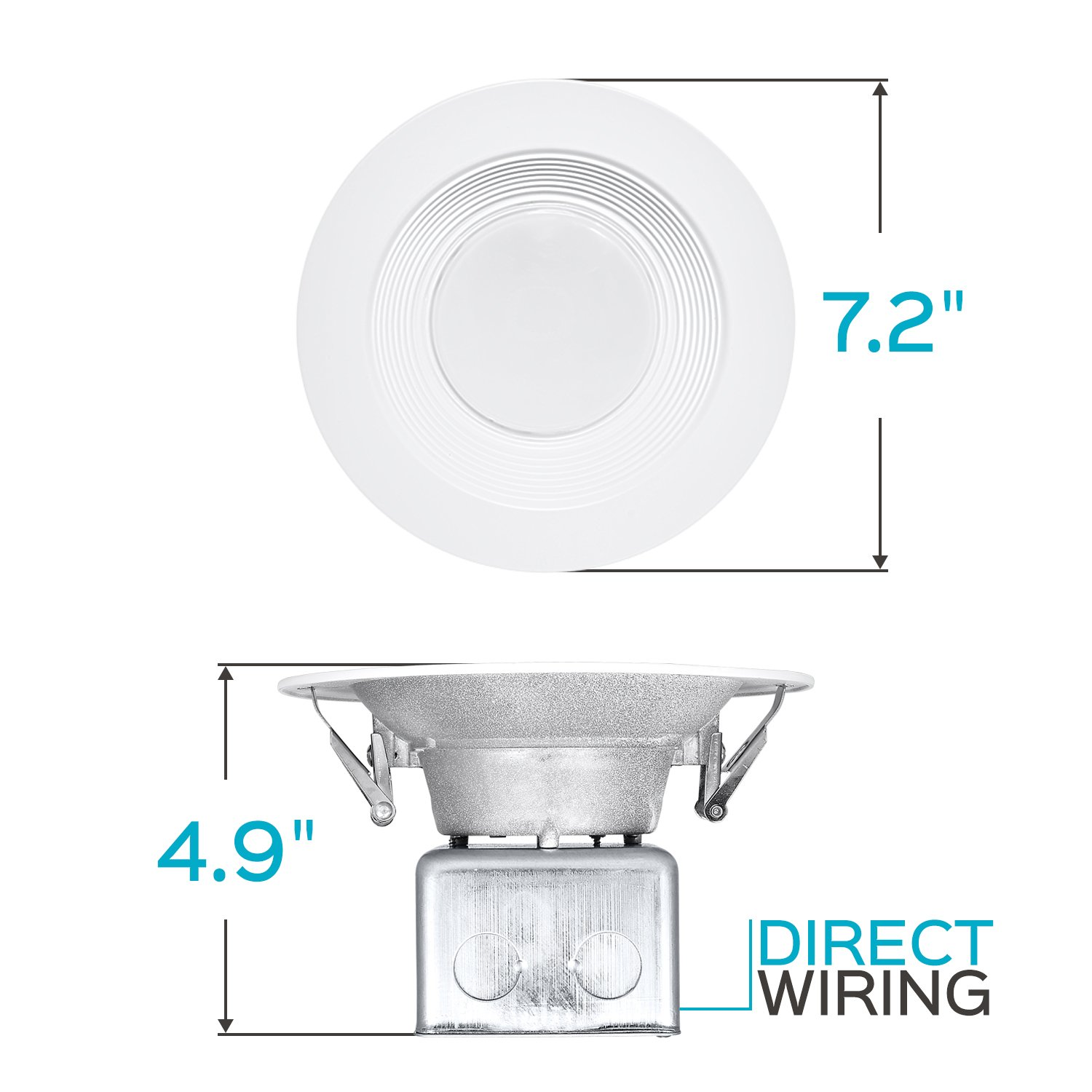 Luxrite 5/6 Inch LED Recessed Light with Junction Box, 15W, 5000K Bright White, Dimmable Airtight Downlight, 1100 Lumens, Energy Star, IC & Wet Rated, 120V - 277V, Recessed Lighting Kit (12 Pack) by LUXRITE (Image #7)