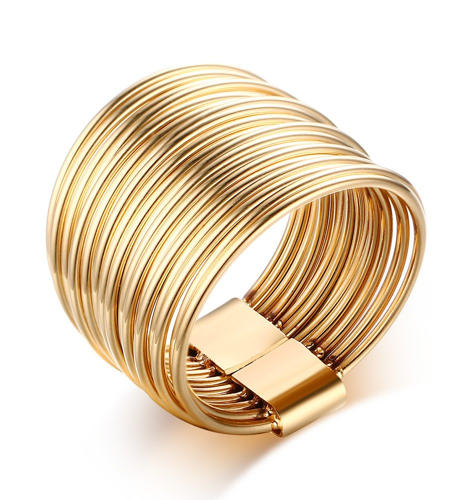 Gold Plated Stainless Steel 10 Multi Plain Bands Interlocked Stacked Ring Set, Wide Statement Rings, Size 8