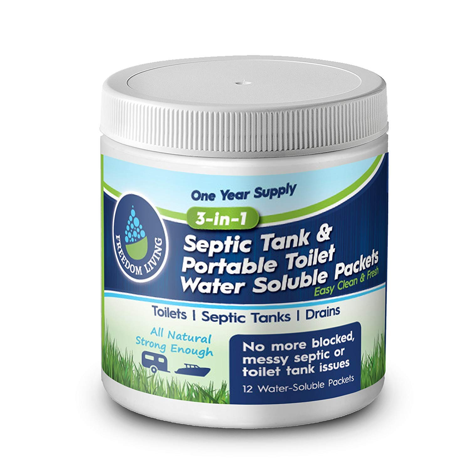 Septic Tank Treatment & Holding Tank Deodorizer Tablets, 1 year supply, Bio clean Packs for RV, Marine Portable Toilets, toilet cleaning chemicals, All Natural. Must have RV accessories by Freedom Living (Image #3)