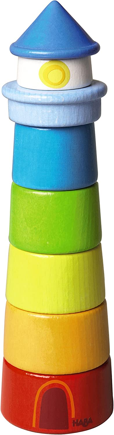 HABA Lighthouse Wooden Rainbow Stacker - 8 Piece Set (Made in Germany)