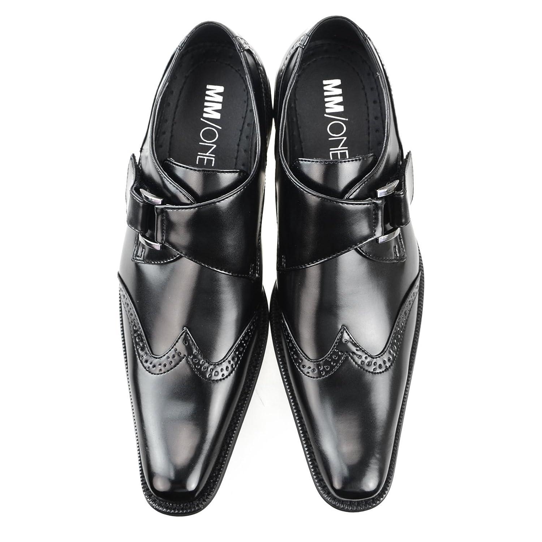 MM/ONE Mens Double Monkstrap Shoes Oxford Dress Shoes Memory Foam Insole Plain Cap Toe Black Dark Brown