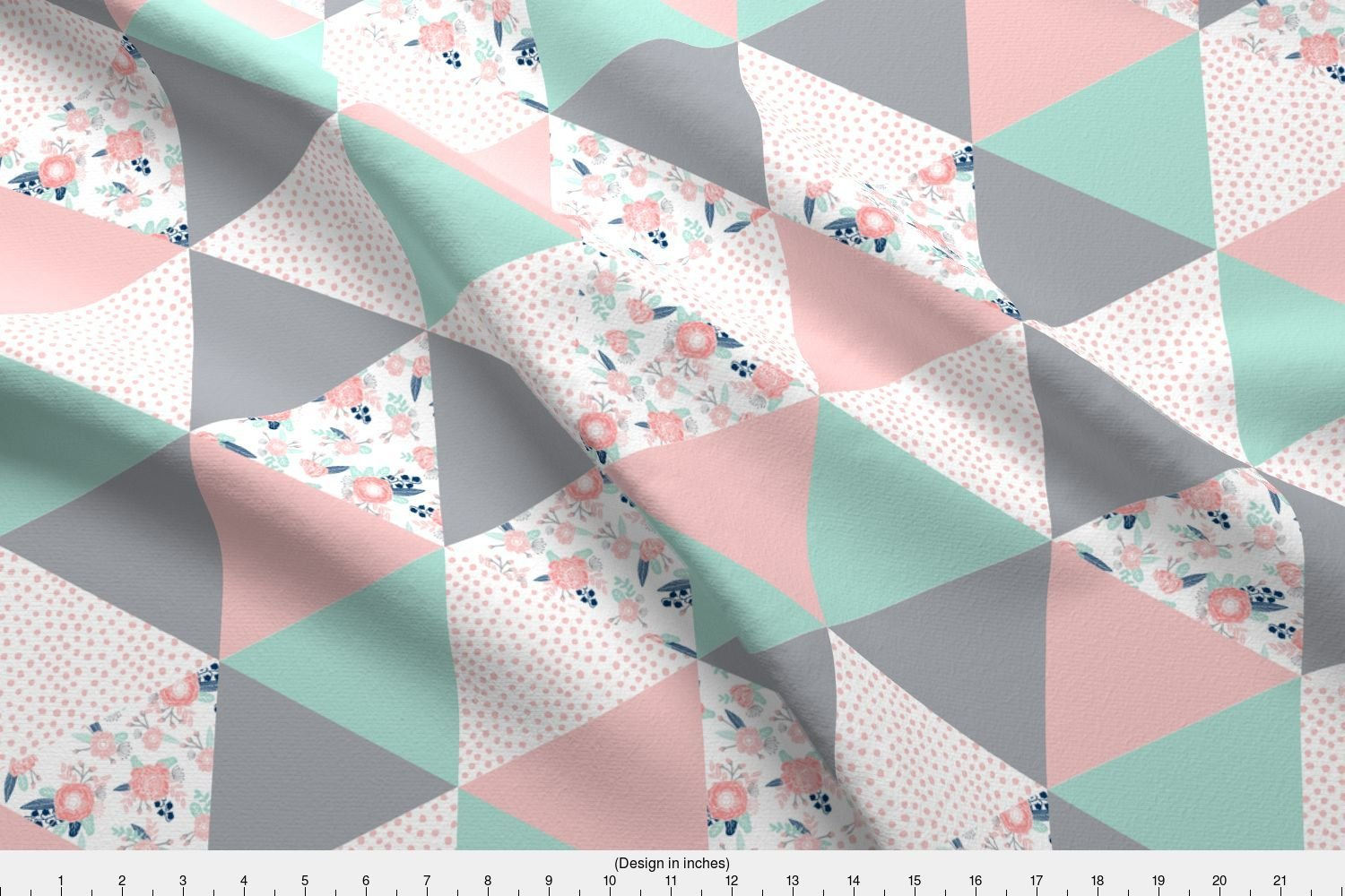 Amazon com spoonflower cheater quilt fabric triangle cheater quilt pink grey and mint by charlottewinter printed on organic cotton knit ultra fabric by the