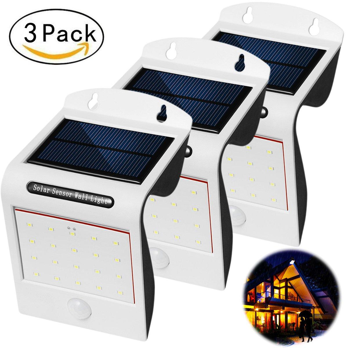 LED壁ライト屋外モーション防水ソーラーウォールライト屋外モーションセンサー20 LEDセキュリティセンサーLEDライト外フェンス 3 Pack GL-20857 B07689LFZM