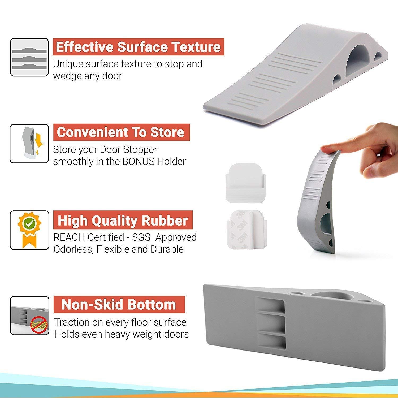 Opaceluuk Premium Door Stopper Wedge Works on All Floor Surfaces for House Bedroom Office Classroom Rubber Doorstops with Free Bonus Holders 3 Pack, Gray