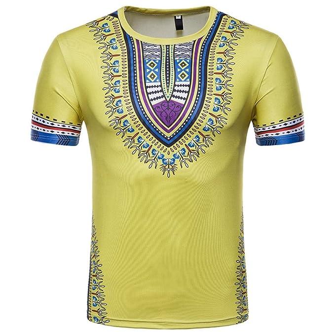 Camiseta para Hombre, Camiseta de Manga Larga con Cuello en V de Manga Larga con Estampado Africano para Hombre: Amazon.es: Ropa y accesorios
