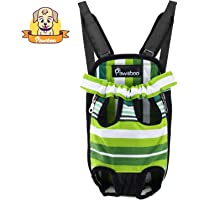 Pawaboo Pet Carrier Backpack, Adjustable Pet Front Cat Dog Carrier Backpack Travel Bag, Legs Out, Easy-Fit for Traveling Hiking Camping, Medium Size, Green and White Stripes