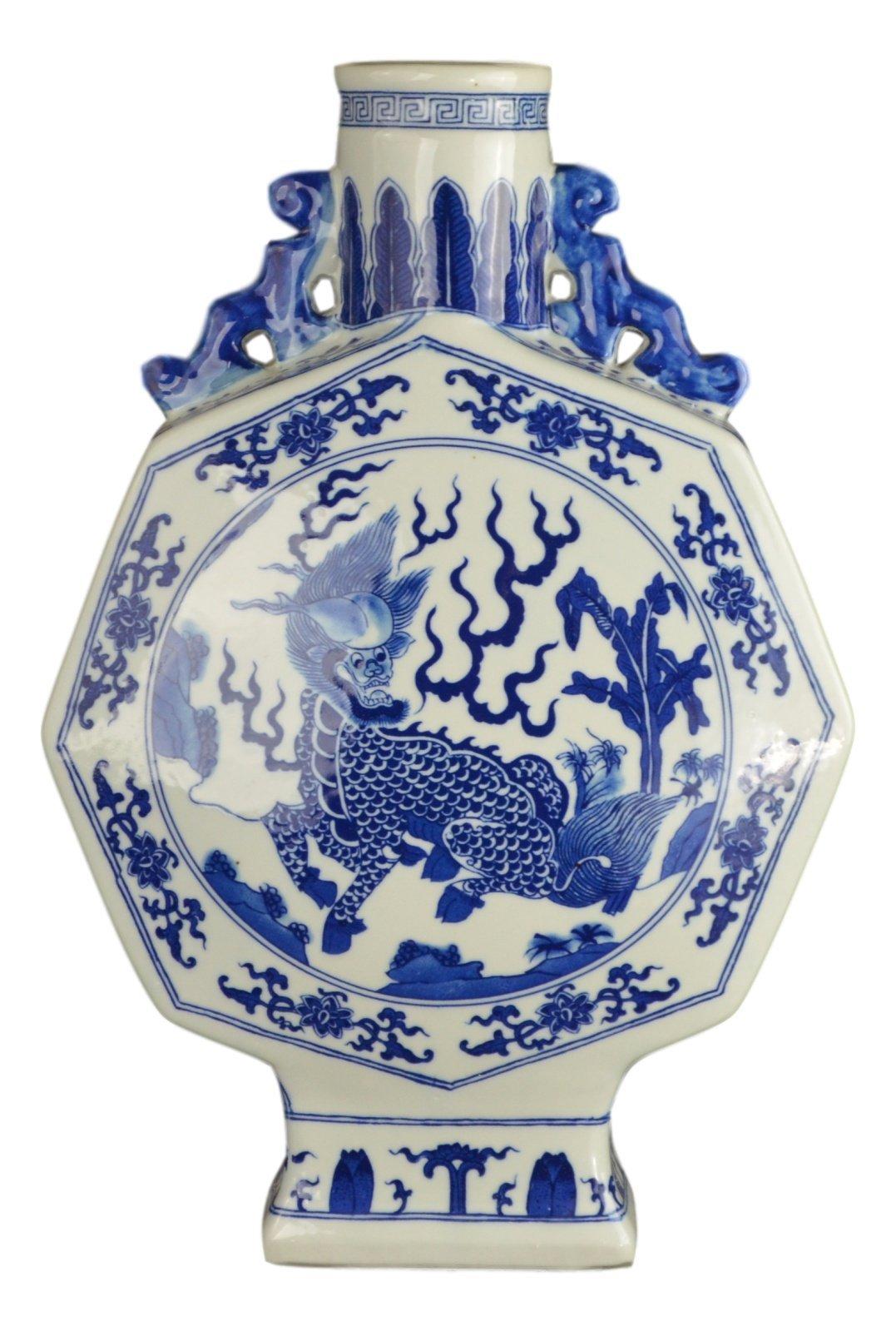 Blue and White Porcelain Lucky Animal Octagonal Flat Jar Vase, Jingdezhen (D6)