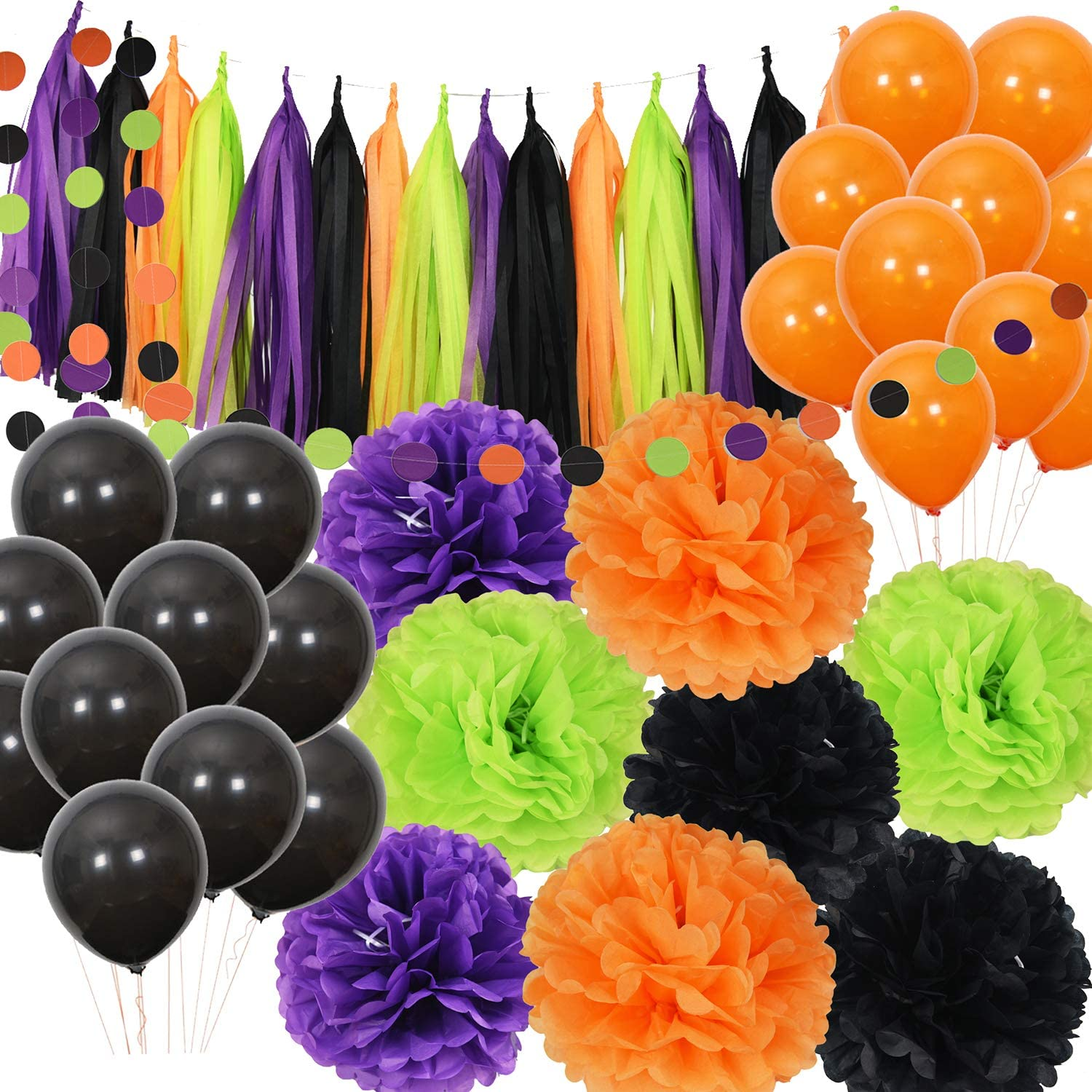 Halloween Ballons Party Decorations Orange Black Purple Green Color Tissue Pom Pom Paper Garland Halloween Party Supplies