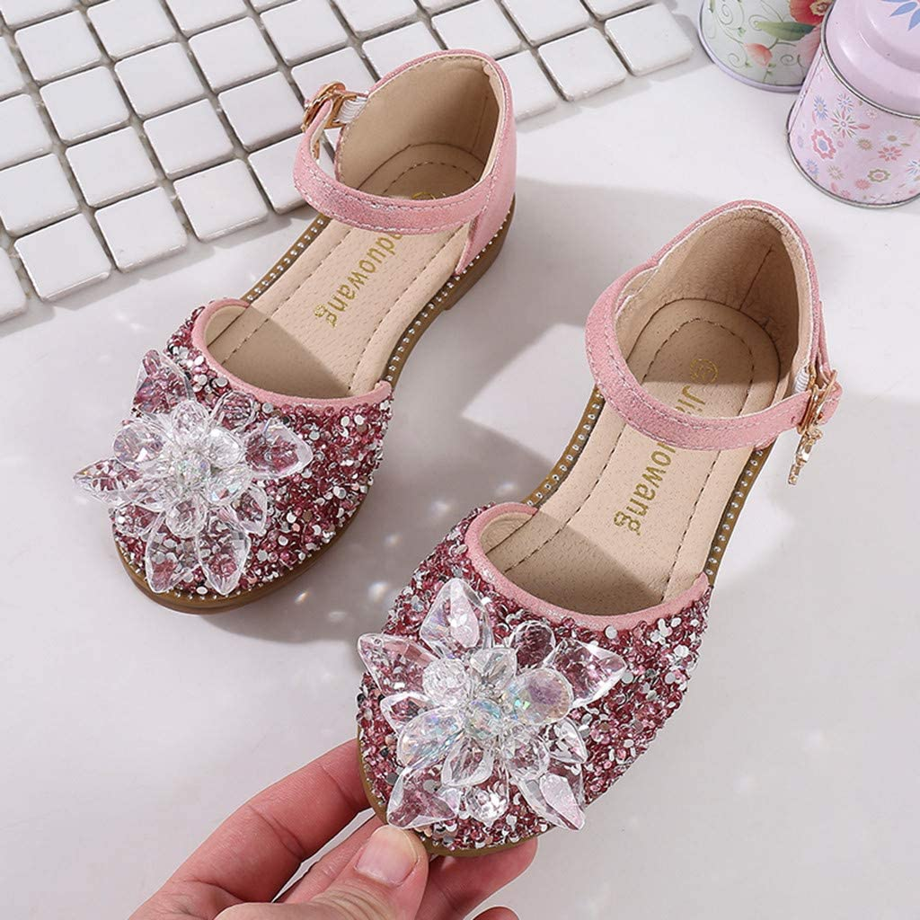 Toddler Girls Teen Ballet Mary Jane Shoes for 3-12 Years Old Kids Bling Crystal Princess Party Dance Shoes