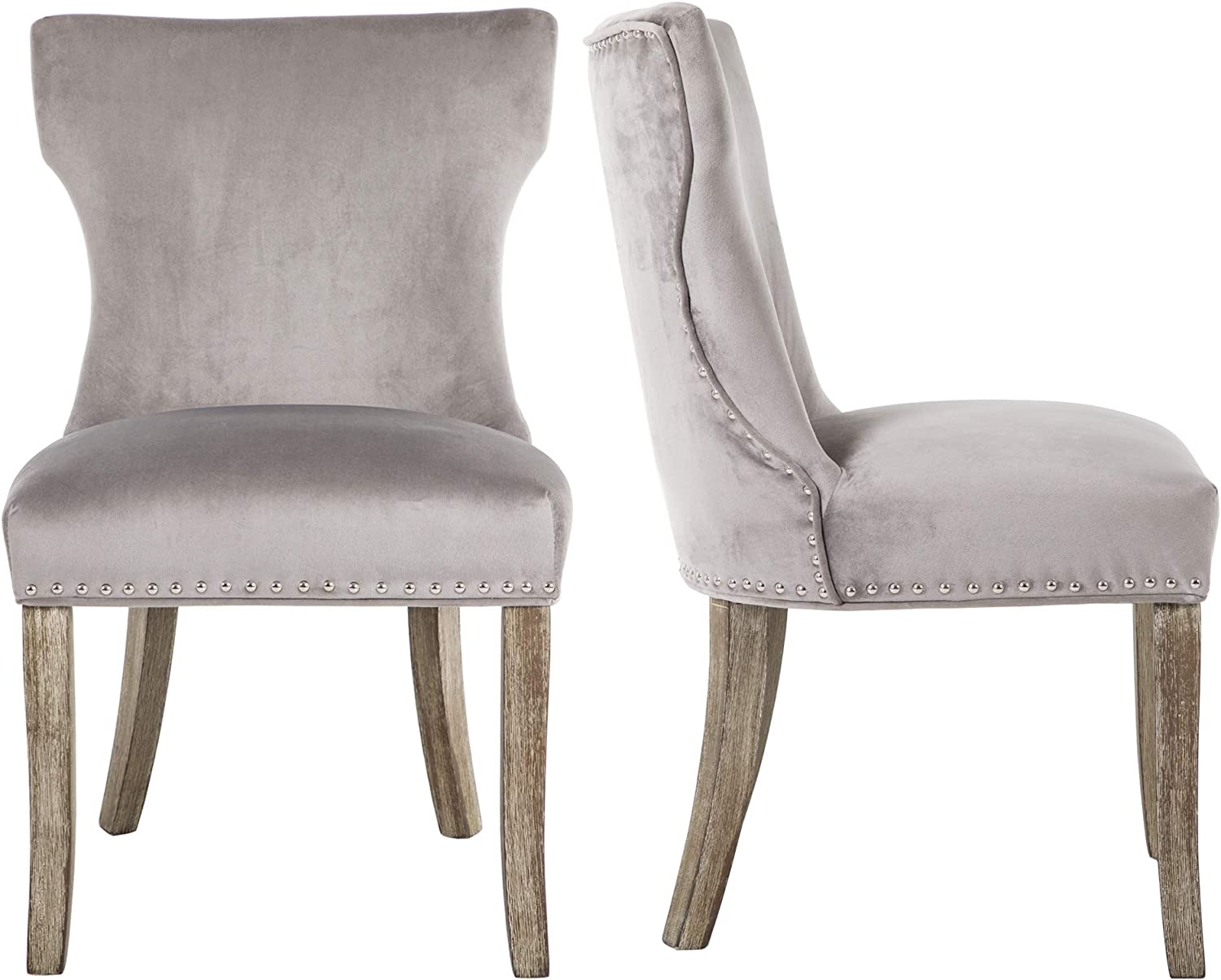 DAGONHIL Dining Chair Button Tufted Armless Chair Upholstered Accent Chair with Brown Solid Wooden Legs,Nailed Trim,Set of 2 Gray