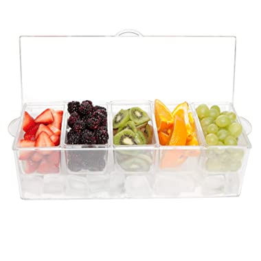 Large Condiment Server - Clear With Removable Compartments and Lid - Safely Chill 5 Types of Condiments on Ice, Easy To Use and Easy To Clean, Serving Tray and Food Organizer