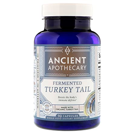 Ancient Apothecary Fermented Turkey Tail Mushroom Supplement, 90 Capsules – Infused with Organic Essential Oils, Ashwagandha Extract and Digestive Bitters