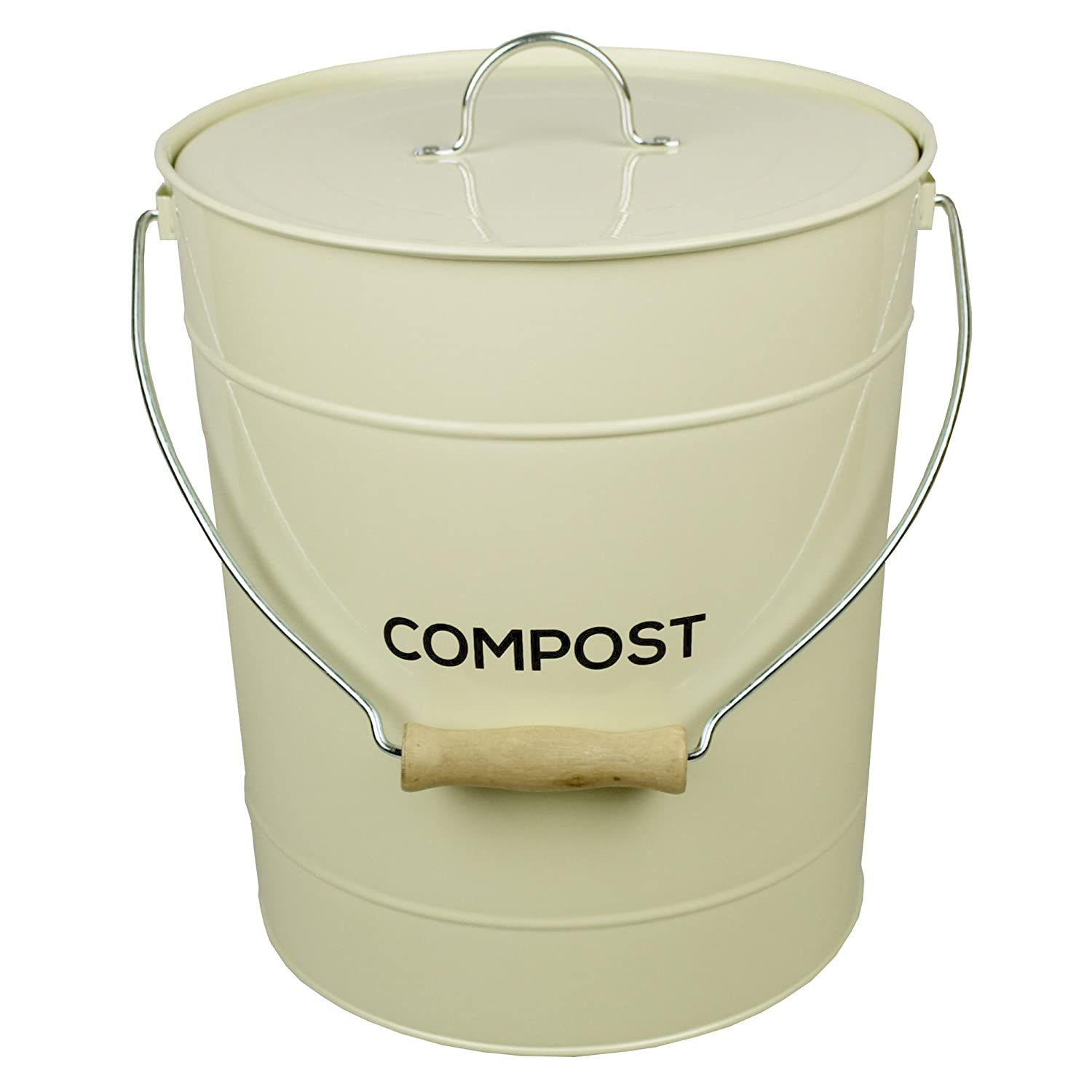 Exceptional Amazon.com: Extra Large Cream Metal Kitchen Compost Caddy   Composting Bin  For Food Waste Recycling By All Green: Home U0026 Kitchen