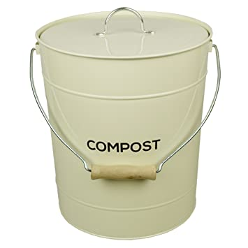 Captivating Extra Large Cream Metal Kitchen Compost Caddy   Composting Bin For Food  Waste Recycling