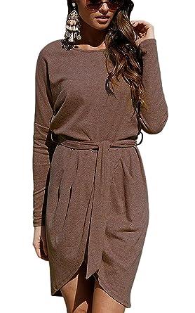 2fff3d16c94 Tomwell Robe Automne Femme Asymétrique Mini Robe Manches Longues Col rond  Irreguliere Dress de Cocktail Café ...